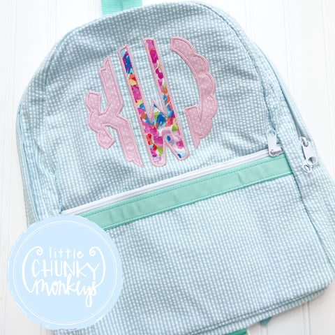 Backpack + Pink Monogram Appliqué Design on Mint Seersucker