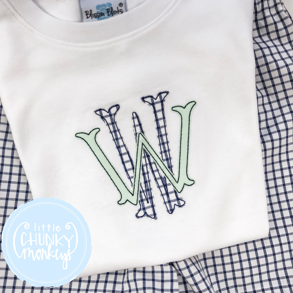 Boy Shirt - Applique Stacked Monogram in Navy & Green
