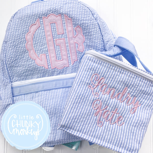 Snack Cube Lunch Box + Personalization on Baby Blue