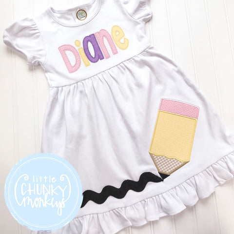 Girl Dress- Stitched Monogram Applique Back To School Design