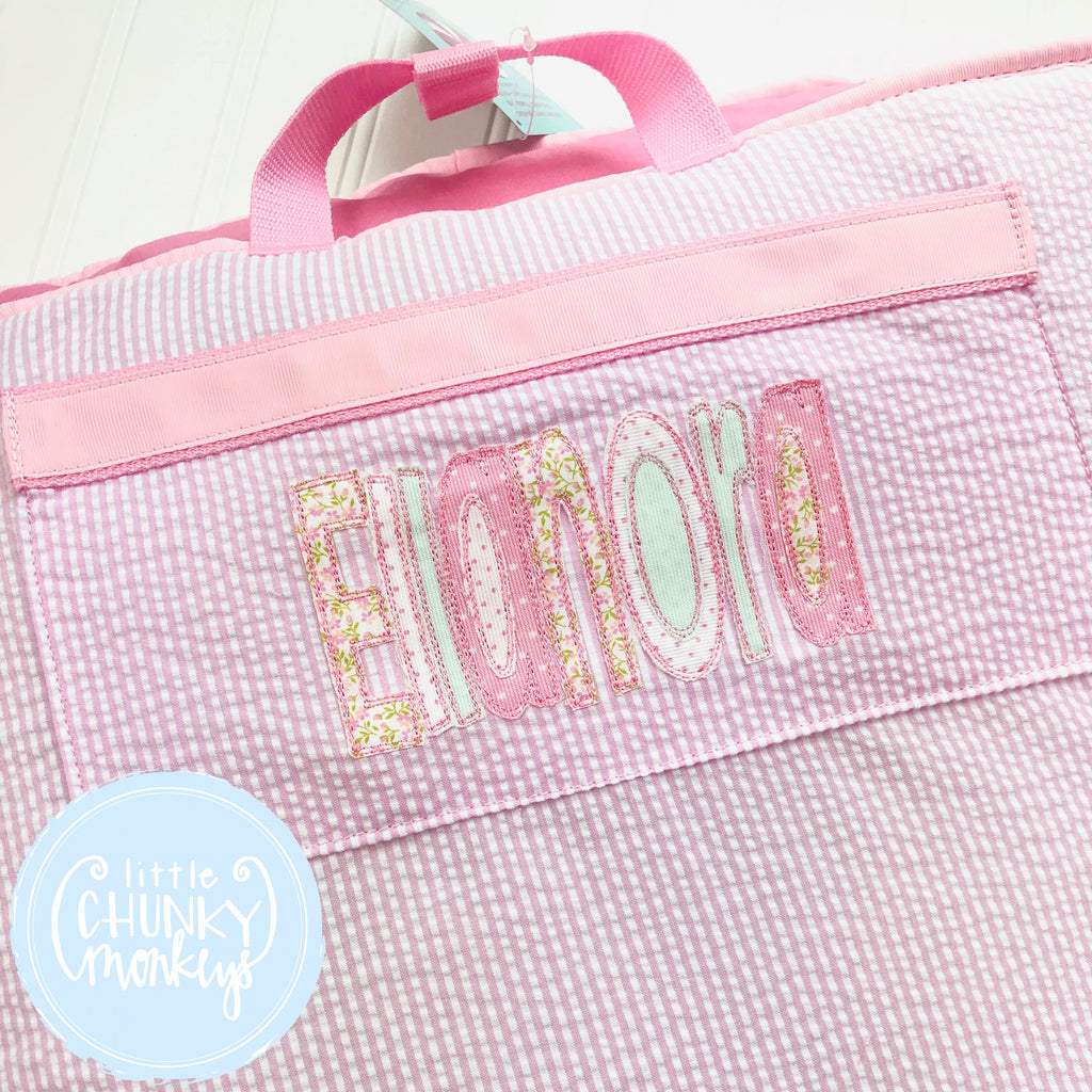Nap Roll + Applique Name on Pink Seersucker