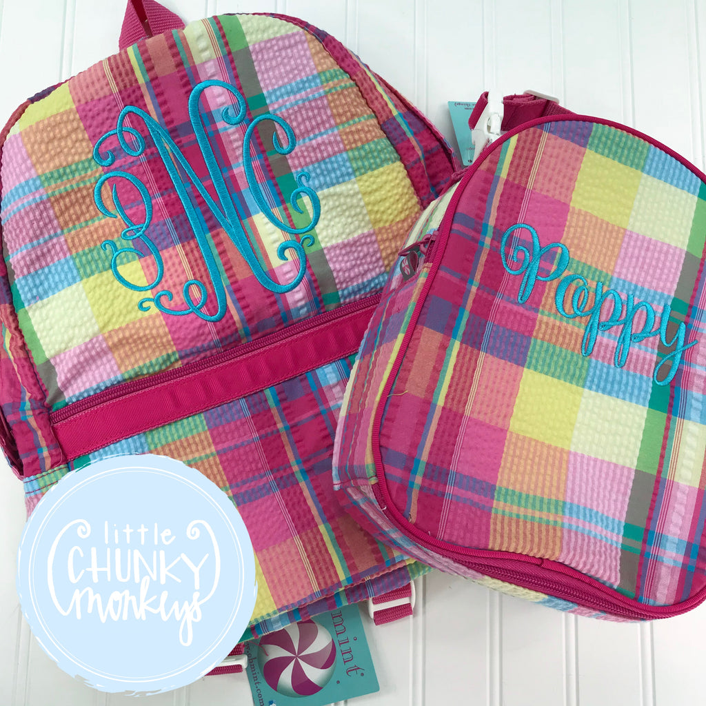 Backpack + Turquoise Monogram Design on Popsicle Plaid