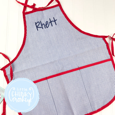 Art Smocks/Apron- Navy Seersucker with Red Trim and Navy Stitched Personalization