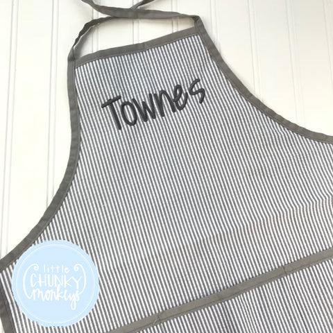 Art Smocks/Apron- Gray Seersucker with Gray Trim and Gray Stitched Personalization