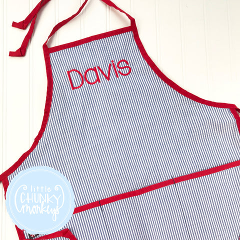 Art Smocks/Apron- Navy Seersucker with Red Trim and Red Stitched Personalization