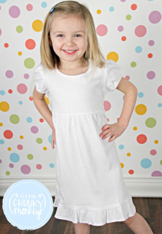 Customize Girl Dress - Short or Long Sleeve Ruffle Dress