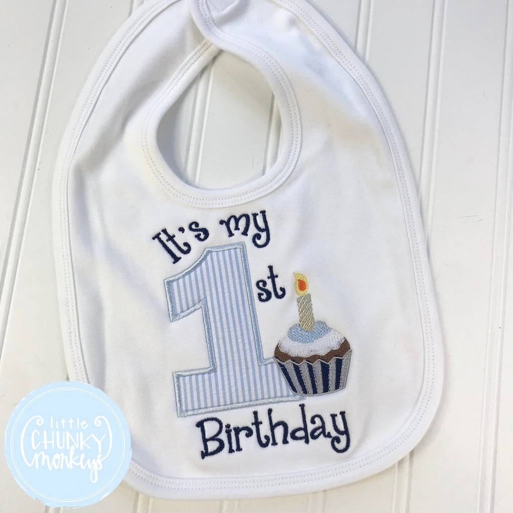 Baby Unisex Bib with 1st Birthday and Personalization