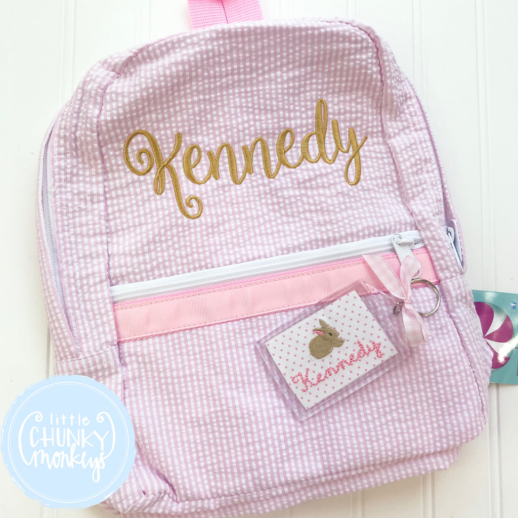 Backpack + Stitched Name on Pink Seersucker