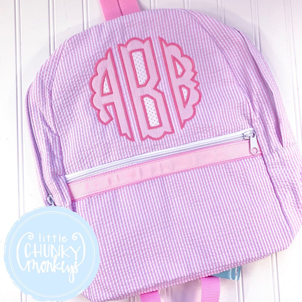 Backpack + Scalloped Monogram on Pink Seersucker