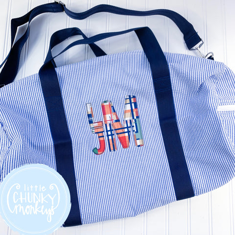 Large Weekender Duffle with Stacked Applique Monogram
