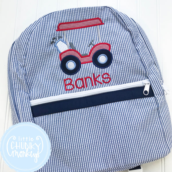 Backpack + Golf Cart Applique on Navy Seersucker