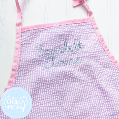 Art Smocks/Apron- Pink Seersucker with Stitched Personalization