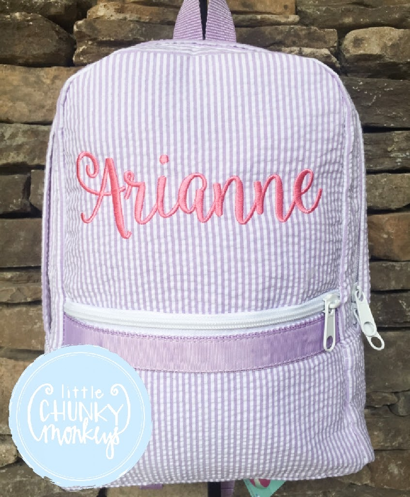Backpack + Personalization on Lilac Seersucker