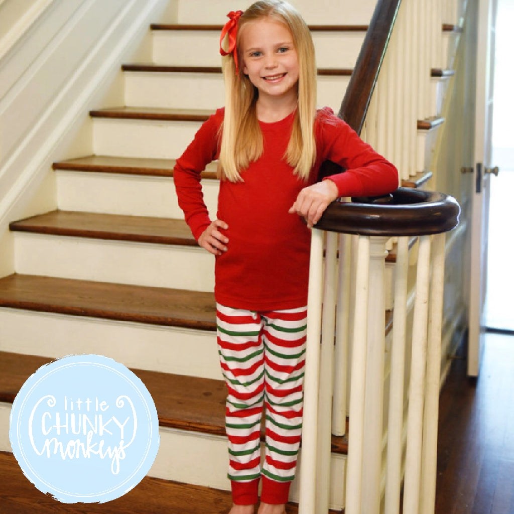 Christmas Pj Set Toddler/Kids Red and Green Stripe - PRE ORDER -Do not add to cart with regular items as this is a PRE-ORDER