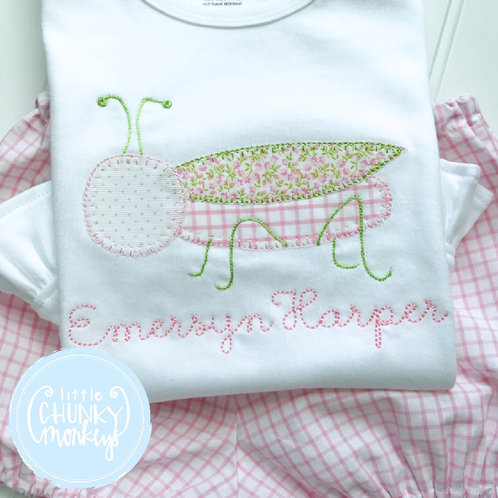 Girl Outfit - Girl Shirt - Personalized Grasshopper with Light Pink Windowpane