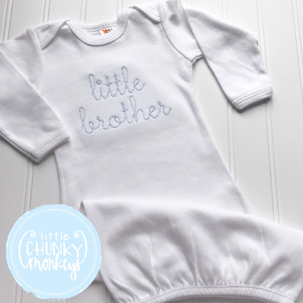 Boy Coming Home Outfit - Boy Gown - Newborn Gown with Vintage Stitch Personalization