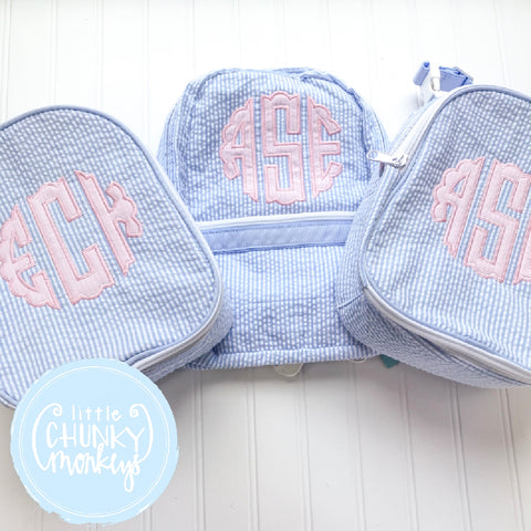 Gumdrop Lunch Box + Scallop Pink Appliqué Monogram Design