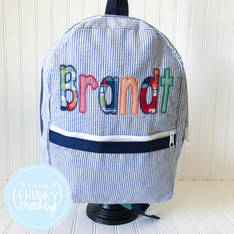 Backpack + Plaid Appliqué Name on Navy Seersucker