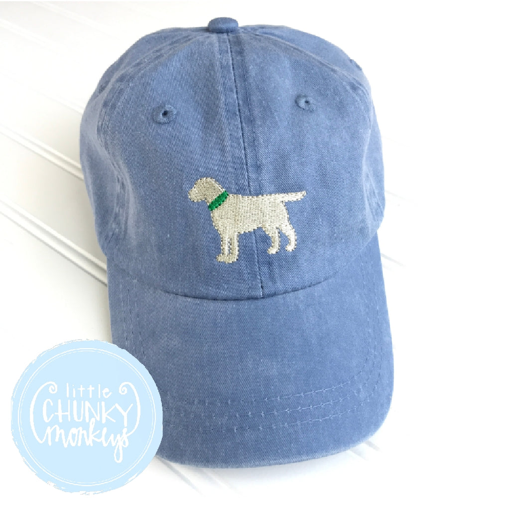 Toddler Kid Hat - Standing Lab Puppy on Light Blue with Green Collar