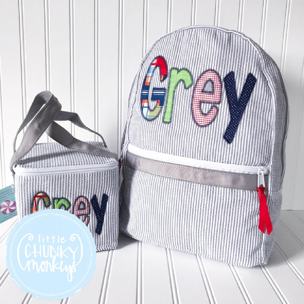 Snack Cube Lunch Box + Primary Pattern Personalization on Grey