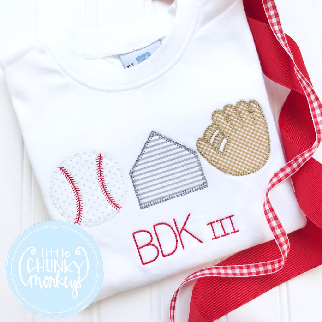 Boy Shirt - Boy Baseball Shirt - Baseball Trio Applique Shirt