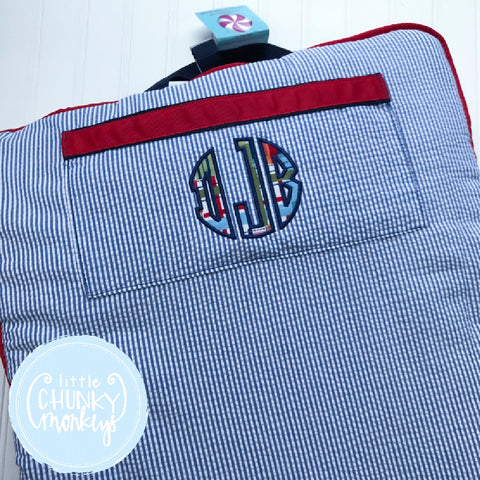 Nap Roll + Circle Patchwork Plaid Applique Monogram