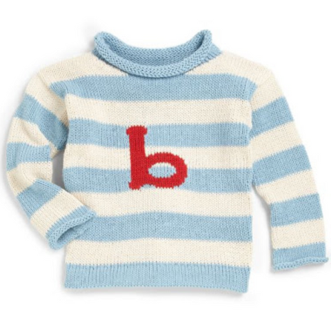 Custom Knit Stripe Letter Sweater