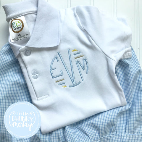Boy Polo Shirt - Circle Monogram with Lines