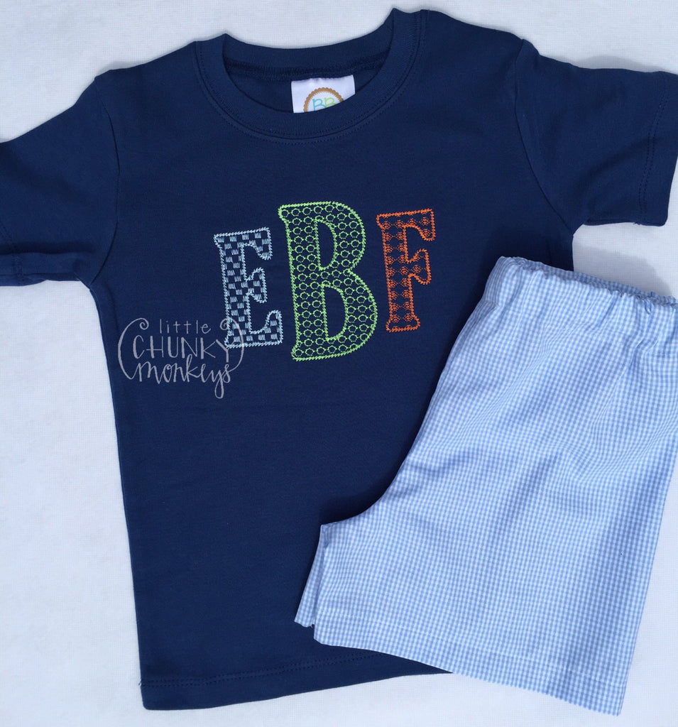 Boy Shirt - Personalized Aztec Boy Shirt on Navy