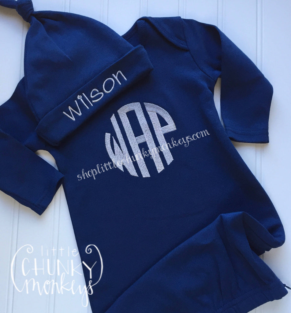 Baby Boy Gown - Bring Home Outfit - Personalized Newborn Gown