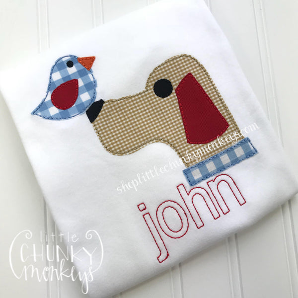 Boy Shirt - Bird Dog on White Shirt