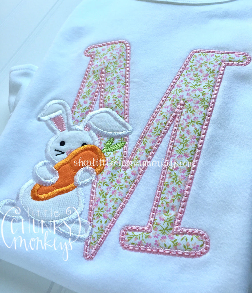 Girl Shirt - Single Floral Initial with Bunny Applique Shirt