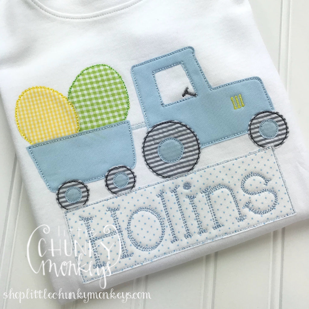 Boy Outfit - Boy Easter Shirt - Easter Tractor Applique Shirt