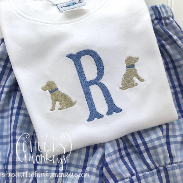Boy Outfit - Personalized Boy Shirt - Lab Puppy Monogram Shirt