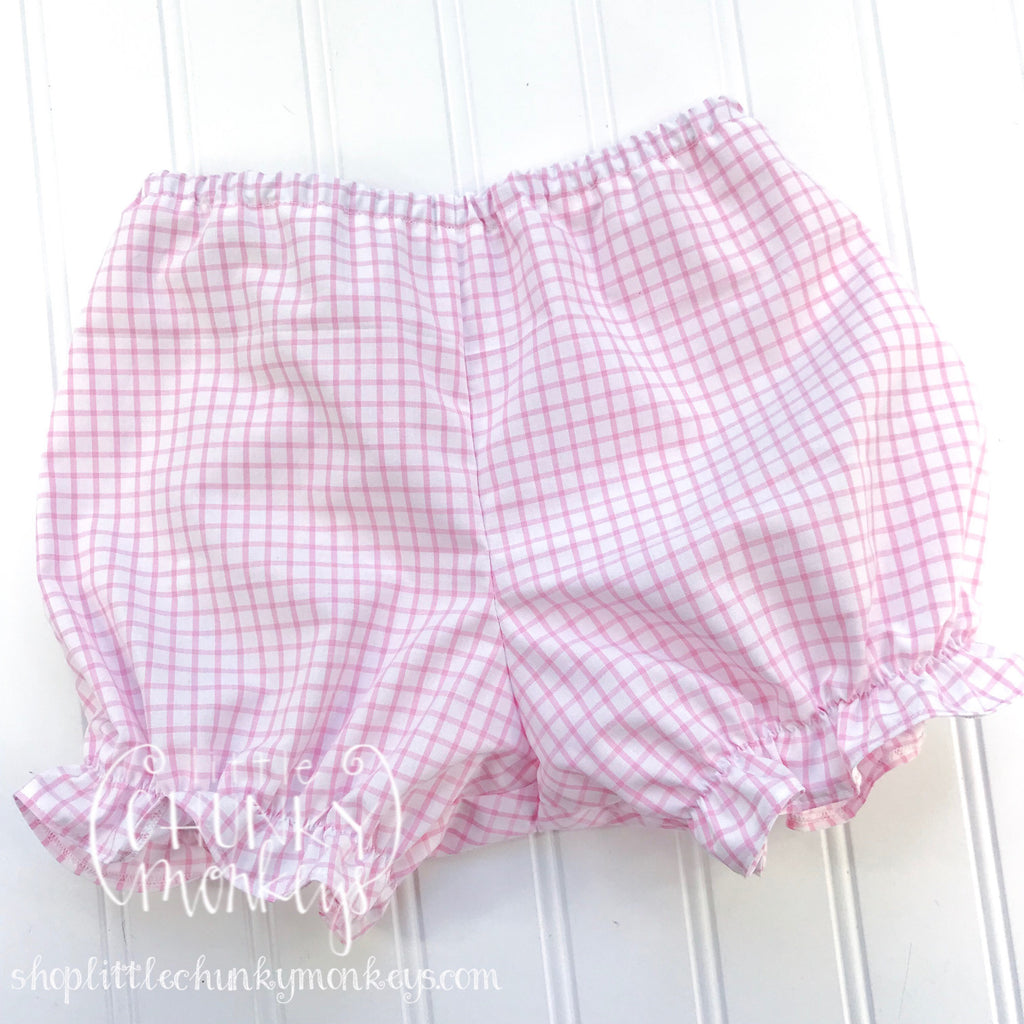 Girl Caroline Ruffle Bloomers - Harper Windowpane Light Pink