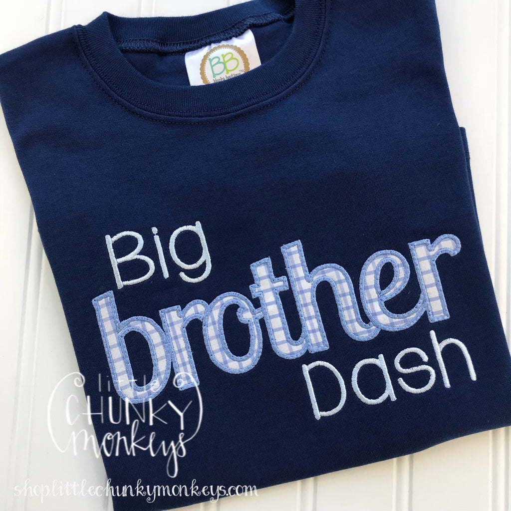 Boy Outfit - Boy Applique Shirt - Big Brother Applique Shirt on Navy
