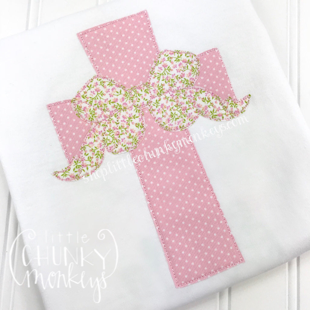 Girl Shirt - Cross with Bow Applique Shirt