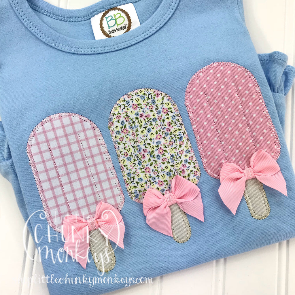 Girl outfit - Girl Shirt - Applique Popsicle Trio with Bows on Light Blue Shirt