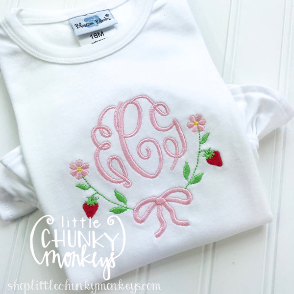 Girl outfit - Girl Shirt - Monogram Tee with Strawberries & Daisies