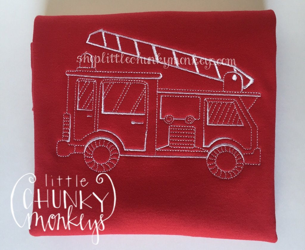 Boy Outfit - Boy Shirt - Personalized Stitch Firetruck on Red Shirt