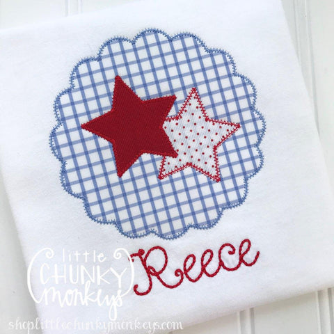 Girl Outfit - Girl Shirt - Girl Patriotic Circle Applique Shirt