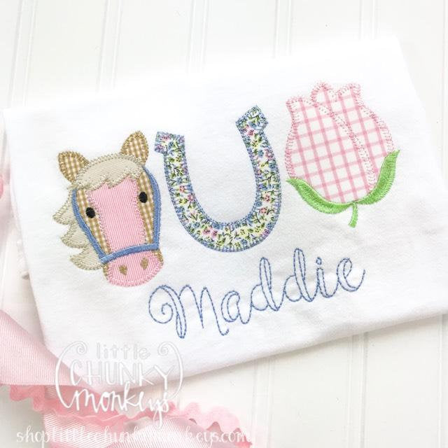 Girl Outfit - Girl Shirt - Girl Horse and Flower Trio with Personalization