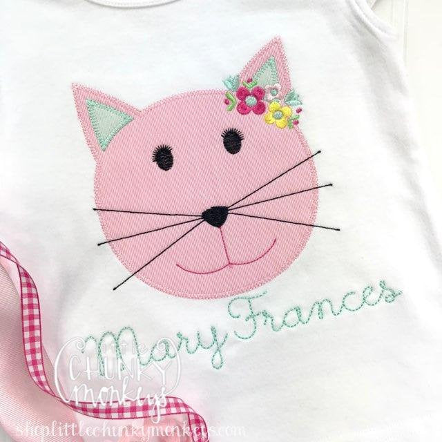 Girl Outfit - Girl Shirt - Girl Floral Cat Applique with Personalization