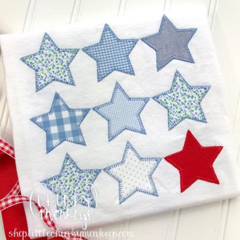 Girl Outfit - Girl Shirt - Girl Patchwork Stars Applique