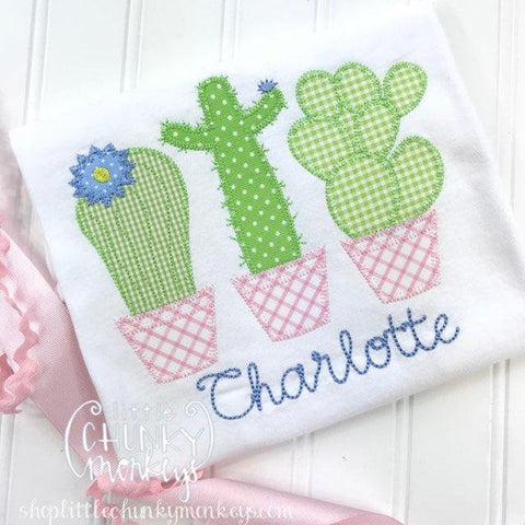 Girl Outfit - Girl Shirt - Girl Cactus Trio with Personalization