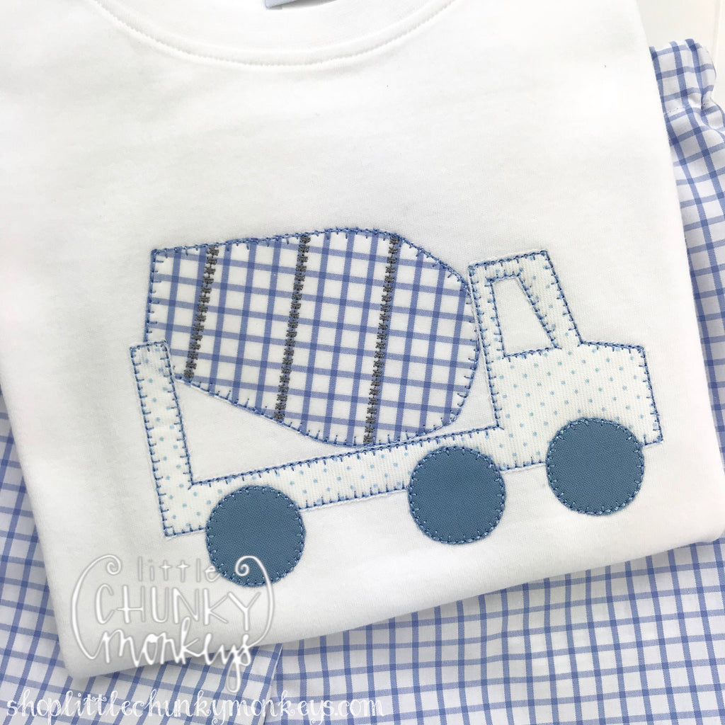 Boy Outfit - Boy Shirt - Mixer Truck on White Shirt