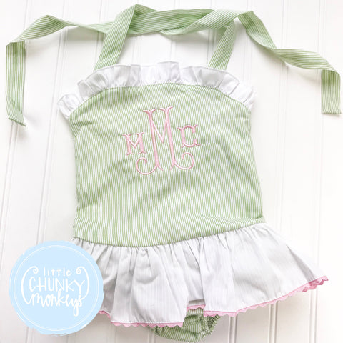 Girl Swimwear - Girl One Piece Swimsuit - Green Seersucker with Light Pink Ruffle and Personalization