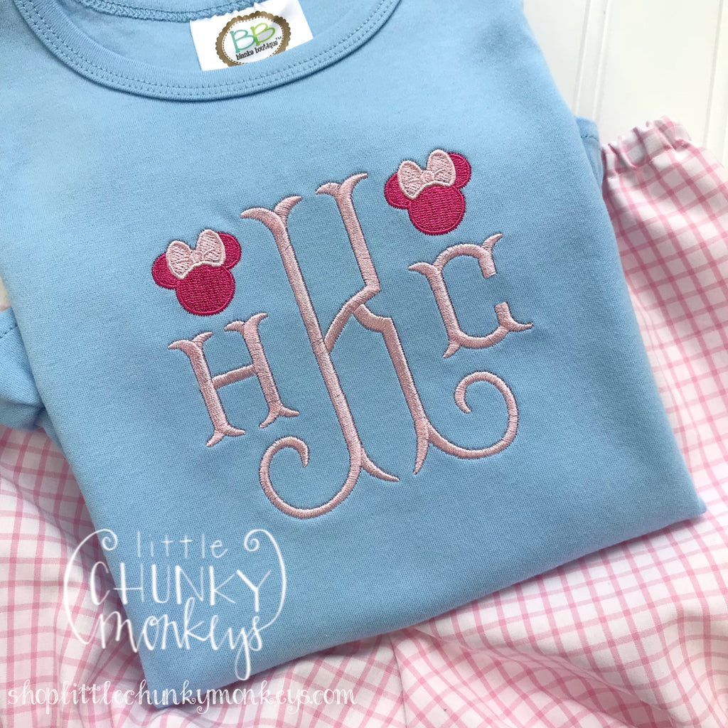 Girl outfit - Girl Shirt - Monogram Tee with Mouse Design