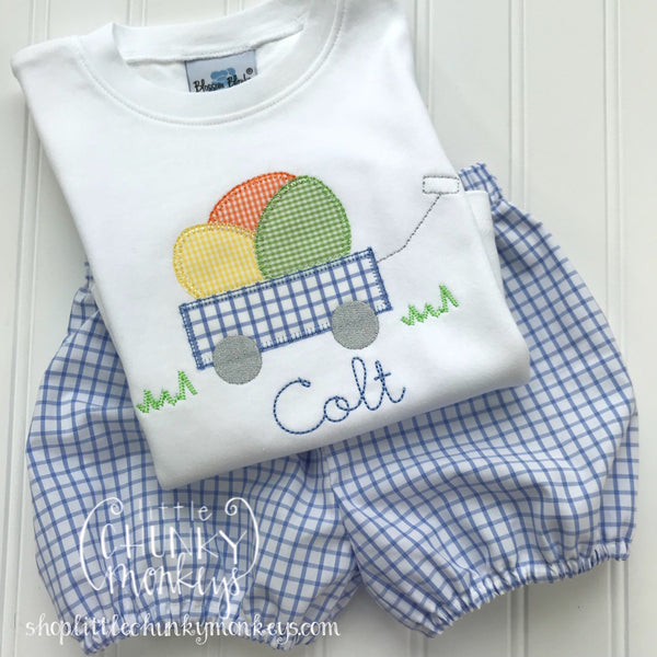Boy Outfit - Boy Easter Shirt - Easter Wagon Applique Shirt