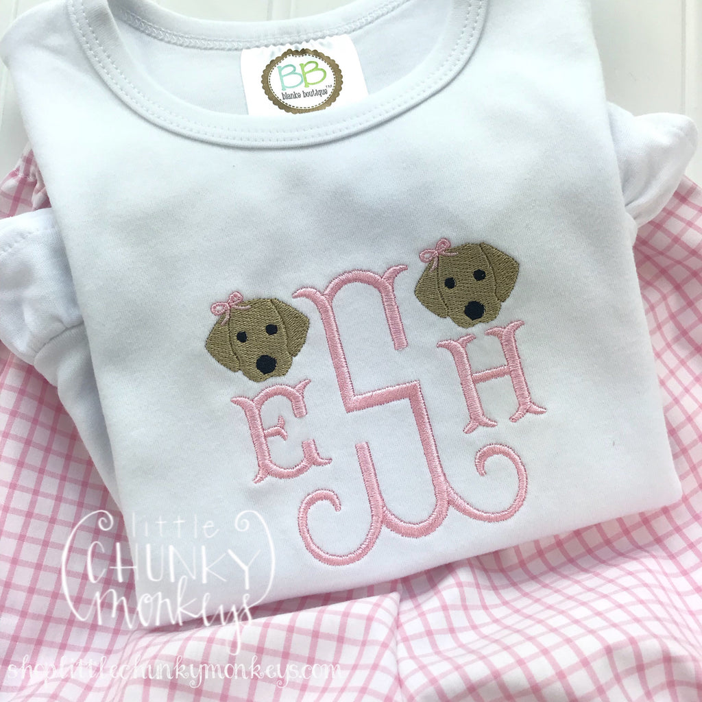 Girl outfit - Girl Shirt - Monogram Tee with Puppies and Bows